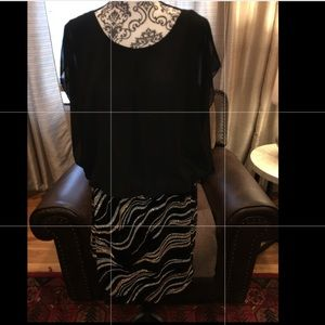 Holiday Dress NWT Silver, black & gold sequence.